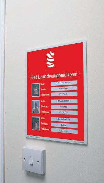 Aan te vullen brandveiligheidsposters - Het brandveiligheid-team - Seton