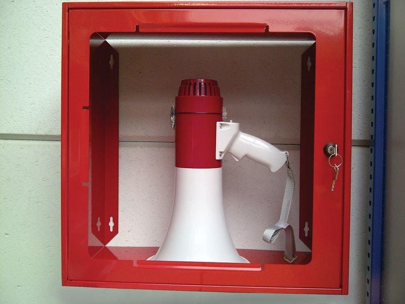 Rood kastje van staal met opaak venster, voor megafoon - Seton
