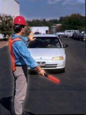 Zaklamp die omgevormd kan worden tot verkeersregelaar - Lichtgevende signalering voor werven