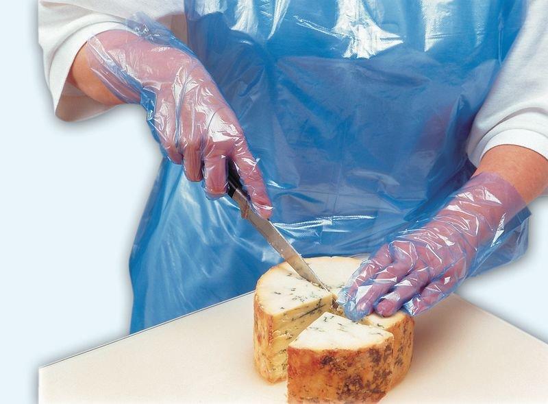 Blauwe wegwerp handschoenen voor de voedingssector
