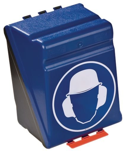 Opbergdoos voor PBM met pictogram Veiligheidshelm en geluiddempende oorkap verplicht