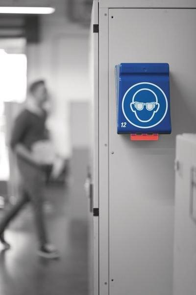 Opbergdoos voor PBM met pictogram Veiligheidshelm verplicht - Plastic opbergdozen en dispensers voor PBM