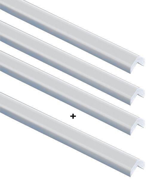Kit met 3 witte stootranden hoek zonder silicone + 1 gratis