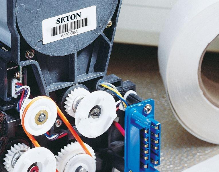 Personaliseerbare stickers met barcode, van gelamineerd polyester - Seton