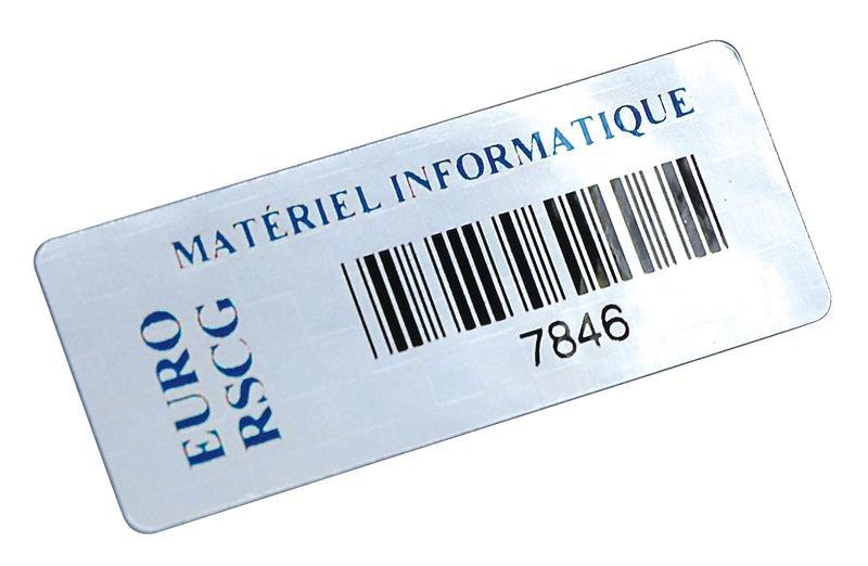Personaliseerbare stickers met barcode, van gemetalliseerd polyester - Personaliseerbare etiketten: genummerd of met streepjescode