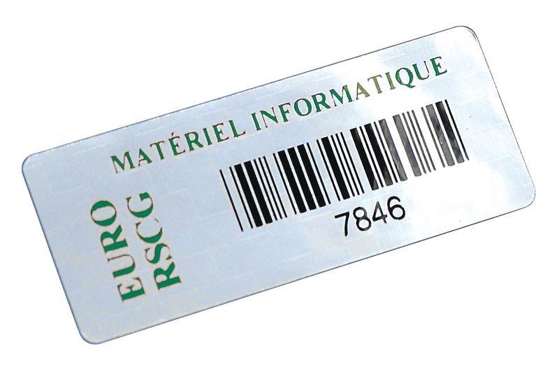 Personaliseerbare stickers met barcode, van gemetalliseerd polyester - Seton