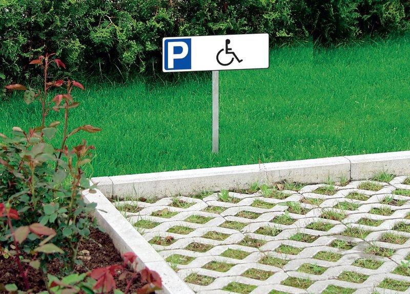 Parkeerborden van PVC, op paal Parkeerplaats gehandicapten - Seton