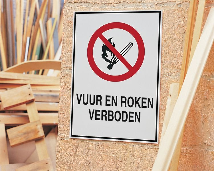Zelfklevende verbodsborden - Vuur en roken verboden - Seton