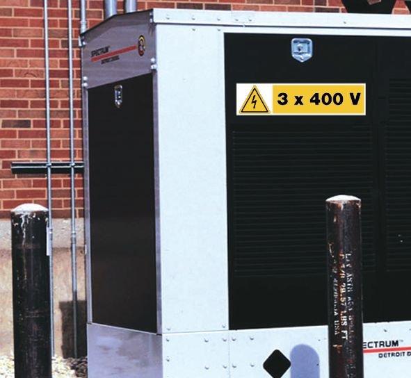 Waarschuwingsstickers elektrisch gevaar - 3 x 400 V - Seton