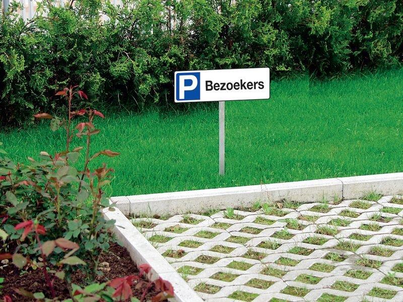 PVC parkeerborden op paal - Bezoekers - Seton