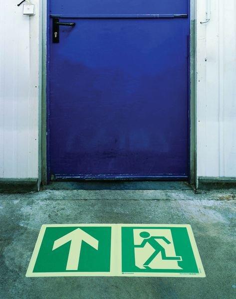 Fotoluminescente antislip stickers voor evacuatie Nooduitgang (naar links) - Seton