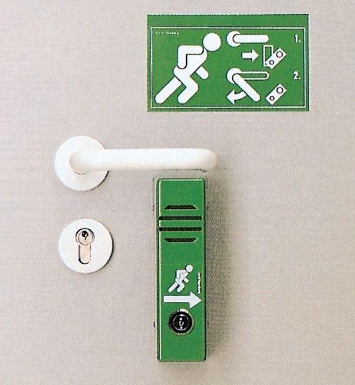 Stickers nooduitgang voor deuralarm Rennende persoon, pijl naar rechts - Seton