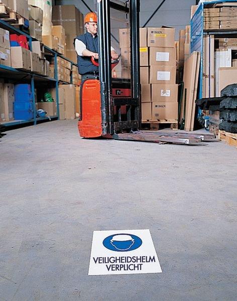Gebodsstickers als vloermarkering - Veiligheidshelm verplicht - Seton