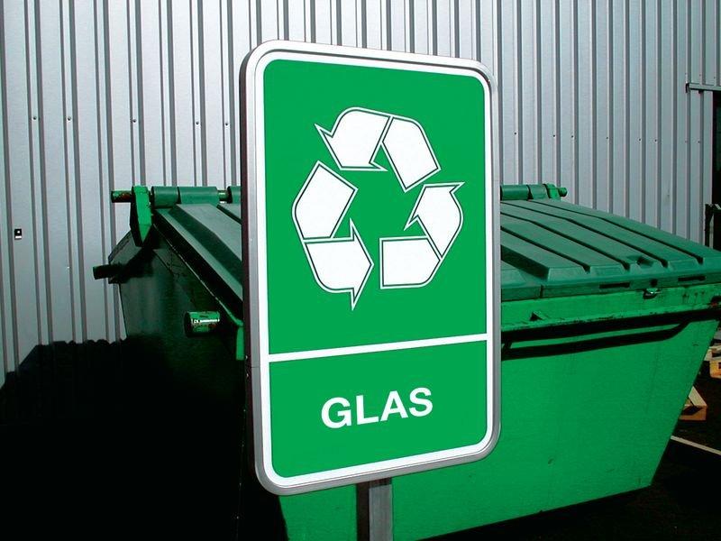 Stickers voor afvalscheiding A4 - Glas - Seton