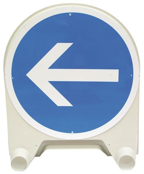 Tijdelijke gebodsborden Verplicht naar links afslaan voor het bord