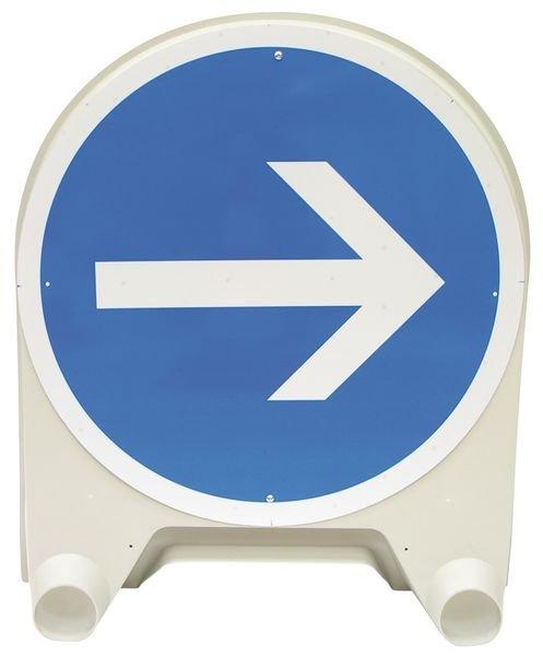 Tijdelijk verkeersbord van polypropyleen Verplicht naar rechts afslaan voor het bord