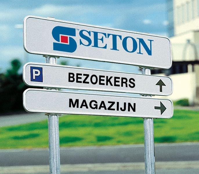 Personaliseerbare, retroreflecterende bedrijfssignalering met 3 borden - Seton