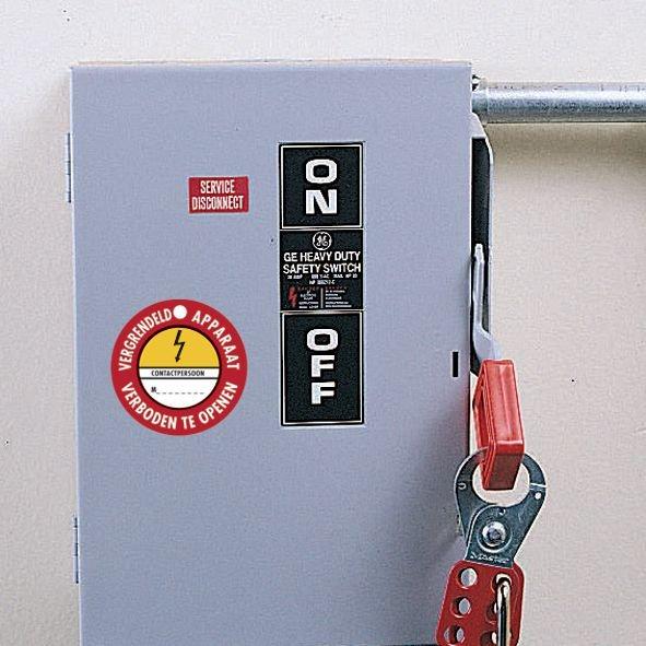 Magnetische verbodsborden Elektrisch gevaar - Vergrendeld Apparaat Verboden te openen - Seton