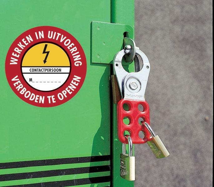 Verbodsstickers Elektrisch gevaar - Werken in uitvoering Verboden te openen Contactpersoon - Seton