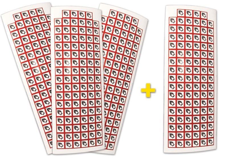 Set stickers met CLP-pictogrammen - 3+1 vellen Oxiderende stoffen - GHS03