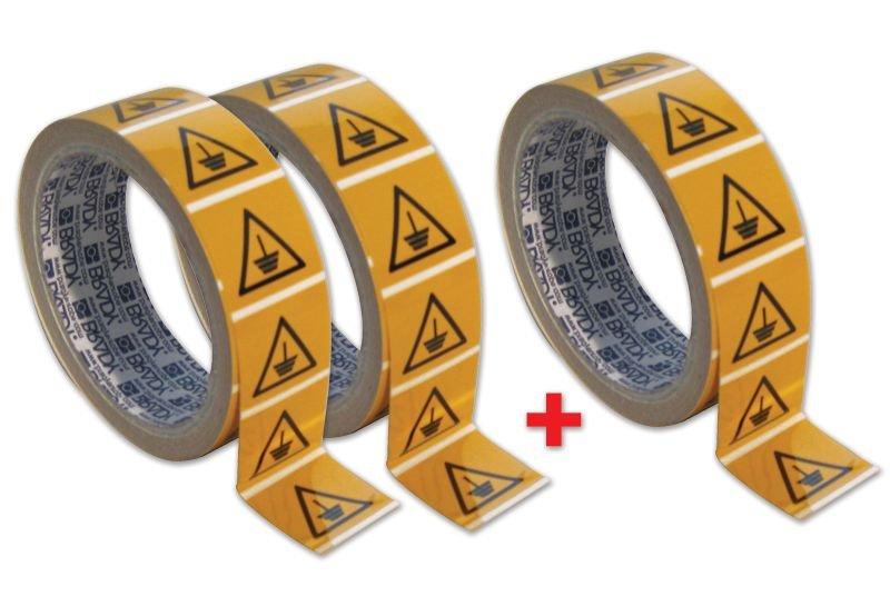 Set waarschuwingsstickers - 2+1 rollen Aarding