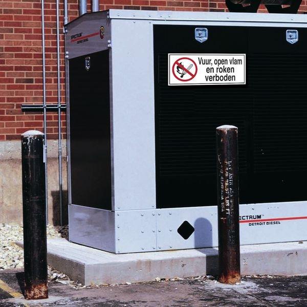 Zelfklevende verbodsborden, klein formaat - Vuur, open vlam en roken verboden - Seton