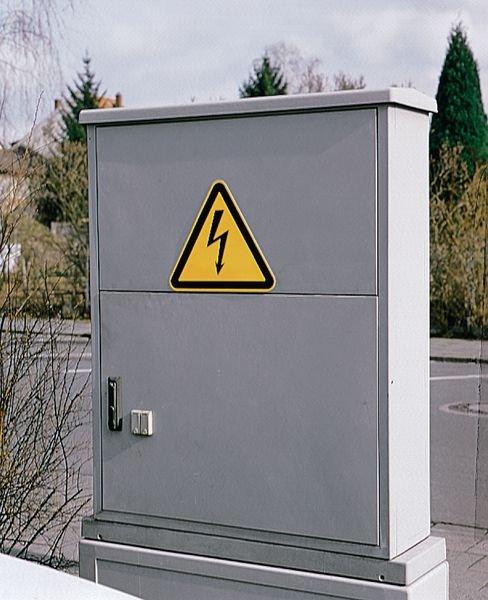 Waarschuwingsborden ISO 7010 van aluminium Gevaarlijke elektrische spanning - W012 - Seton