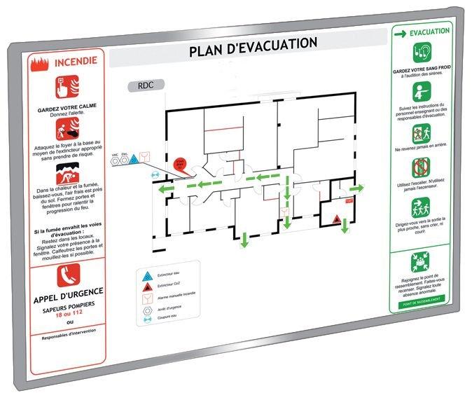 Aluminium kader voor evacuatie- en veiligheidsplan