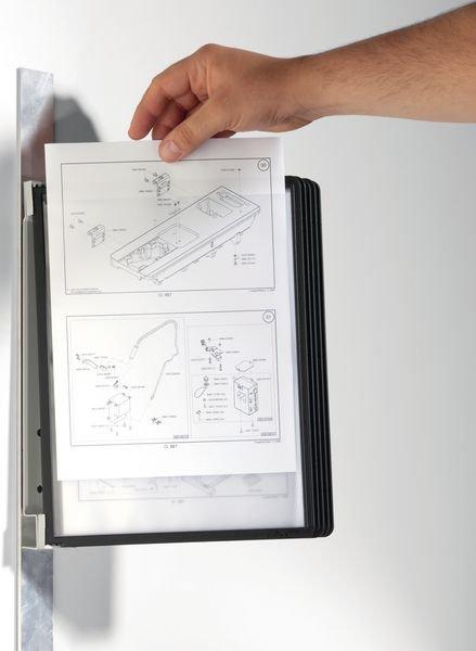 Magnetische muursteun voor zichtpaneel met A4-hoesjes