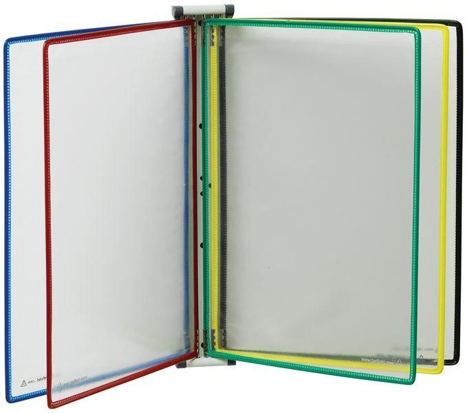 Magnetische documentdisplay voor muurbevestiging met 10 gekleurde documenthoezen