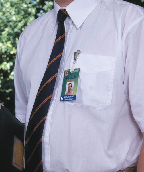 Klembevestiging voor badges, met verchroomd bandje - Seton