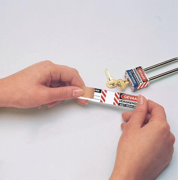 Beschrijfbare lockout stickers voor hangsloten