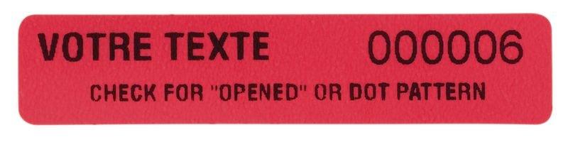 Personaliseerbare stickers van gekleurd polyester met tamper proof evidence - Opened - Seton