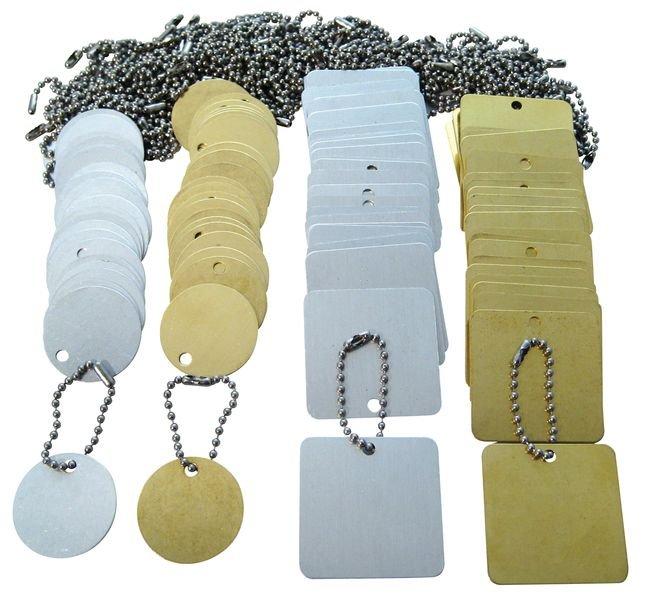 Set van 100 blanco ventielplaatjes met kogelkettingen - Seton
