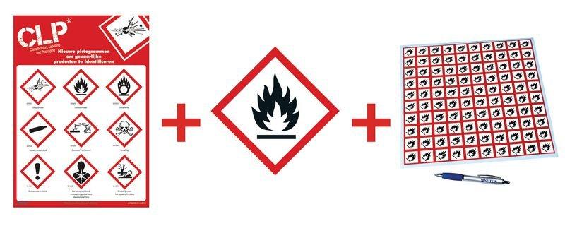 Kit met CLP-waarschuwingsstickers en poster Ontvlambare stoffen - GHS02