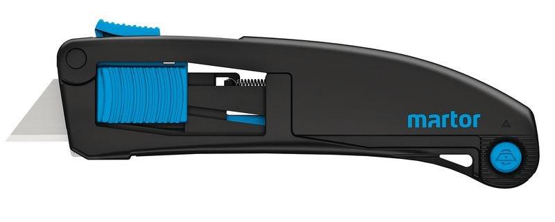 Stevig veiligheidsmes met driedubbele schuifknop en vervangbaar lemmet Martor® Secupro Maxisafe