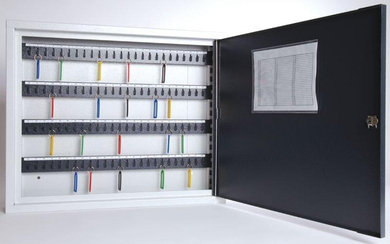 Platte sleutelkast met register en verstelbare haakjes