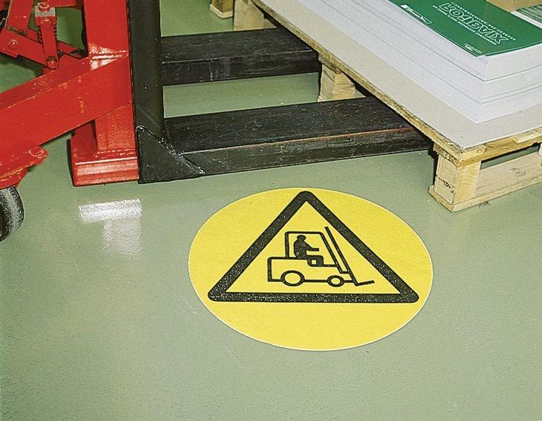 Vloersticker - waarschuwingspictogram Transportvoertuigen - Seton