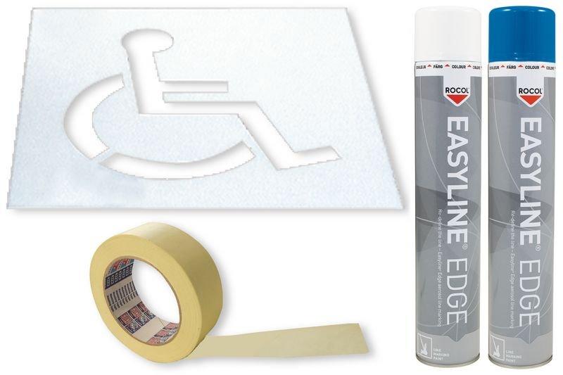 Kit met sjabloon en markeringsverf Personen met een handicap