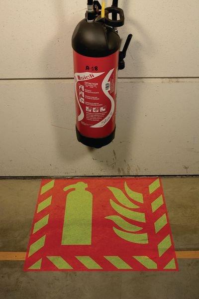 Kit met sjabloon en fotoluminescente markeringsverf 'Brandblusser' - Brandblussers en brandslanghaspels