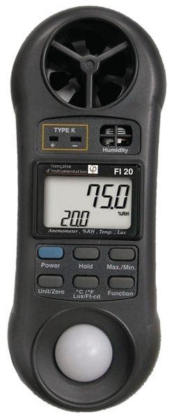 Luxmeter, thermometer, hygrometer en anemometer
