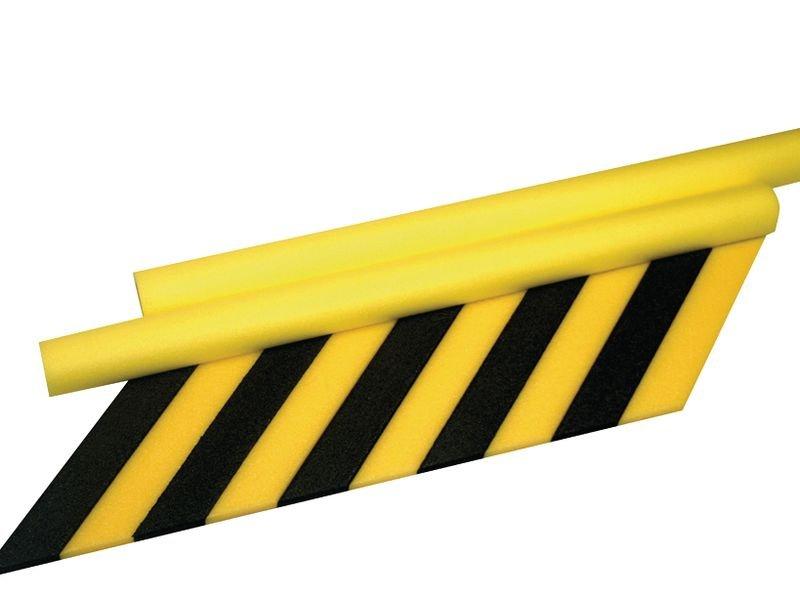 Geel-zwarte stootrand in U-profiel van polyethyleenschuim - Stootranden
