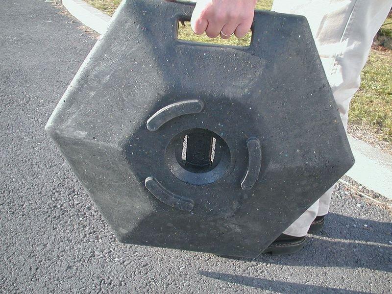 Flexibele afzetpaal op voet met handgreep - Omheining en signalering van de bouwplaats