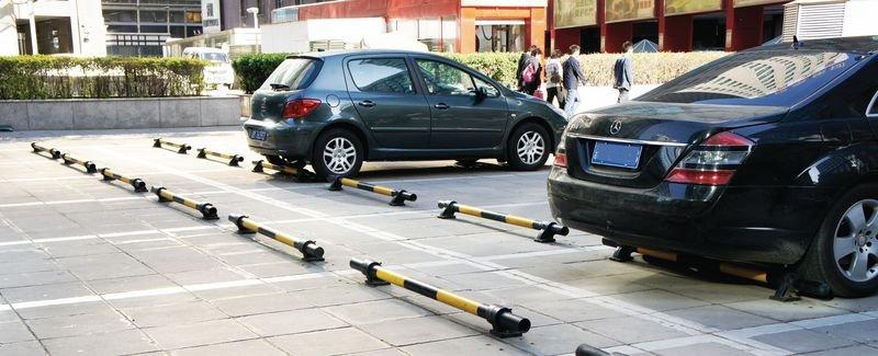 Parkeerstop van staal, geel en zwart - Seton