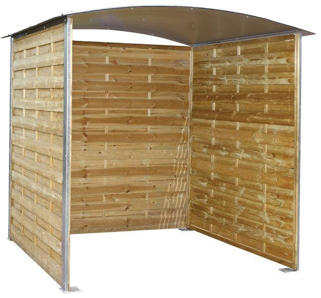 Overkapping met houten wanden en gebogen dak