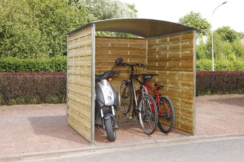 Overkapping met houten wanden en gebogen dak - Parking fietsen en motors