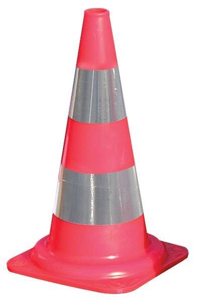 Fluo-oranje verkeerskegels BP met reflecterende stroken