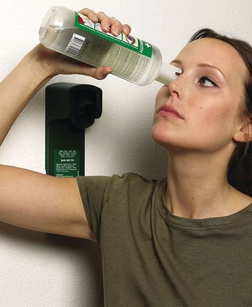 Muurhouder met 2 x 500 ml neutrale oplossing - Nooddouches, oogdouches en oogspoelingen