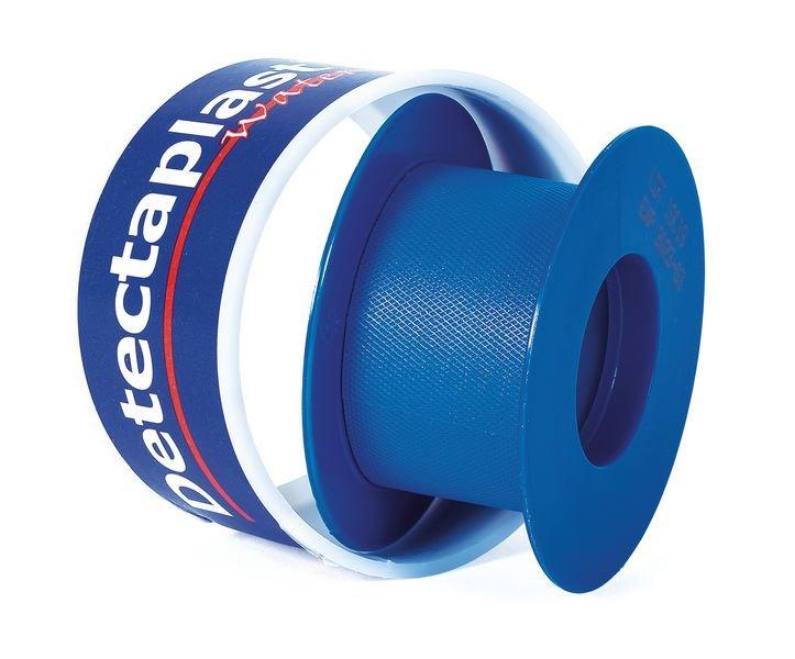 Blauwe hechtpleisters van plastic op rol - Blauwe detecteerbare pleisters