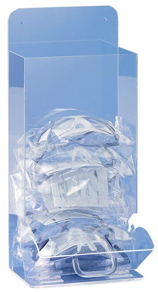 Transparante dispenser voor veiligheidsbrillen en ademhalingsmaskers